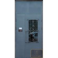 Входные двери в подъезд ПД-ПВС-ПВС 28 Порошковое напыление с боковой вставкой и фрамугой с доставкой и установкой в Москве от производителя