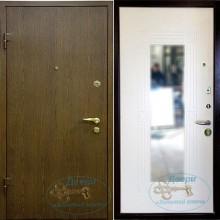 Металлические двери с отделкой ламинатом снаружи и МДФ с зеркалом внутри