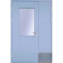 Двустворчатая остекленная противопожарная дверь