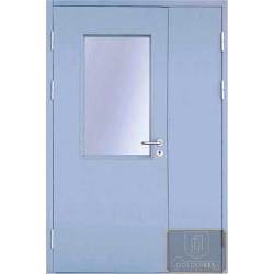 Двустворчатая остекленная противопожарная дверь ДМП-21