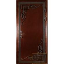 Входная дверь с ковкой и зеркалом внутри