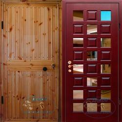 Утепленная дверь с вагонкой ВД-ВГ-МЗ 13