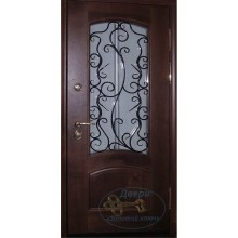 Железная дверь со стеклом и ковкой