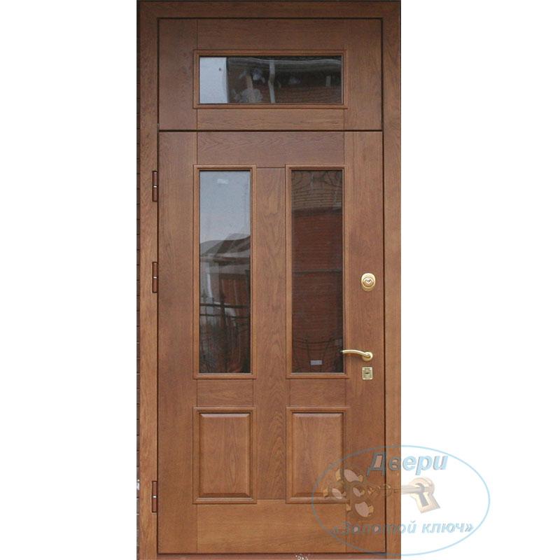 Входная металлическая дверь со стеклянной фрамугой