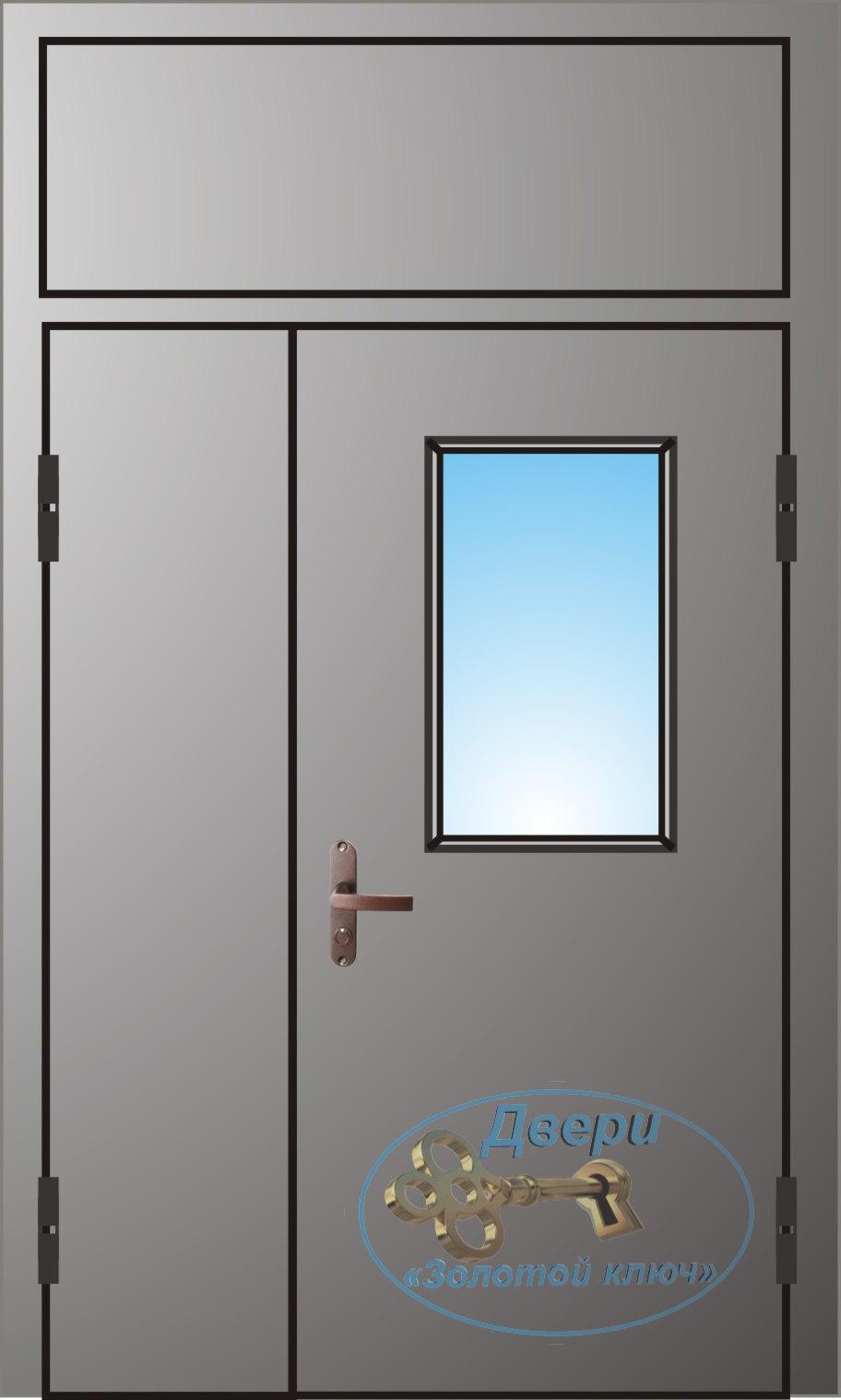 Двупольная дверь со стеклопакетом,с левой распашной вставкой и  верхней вставкой
