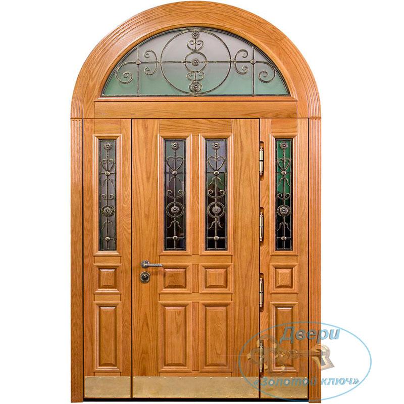 Входная дверь с арочной фрамугой и двумя боковыми вставками