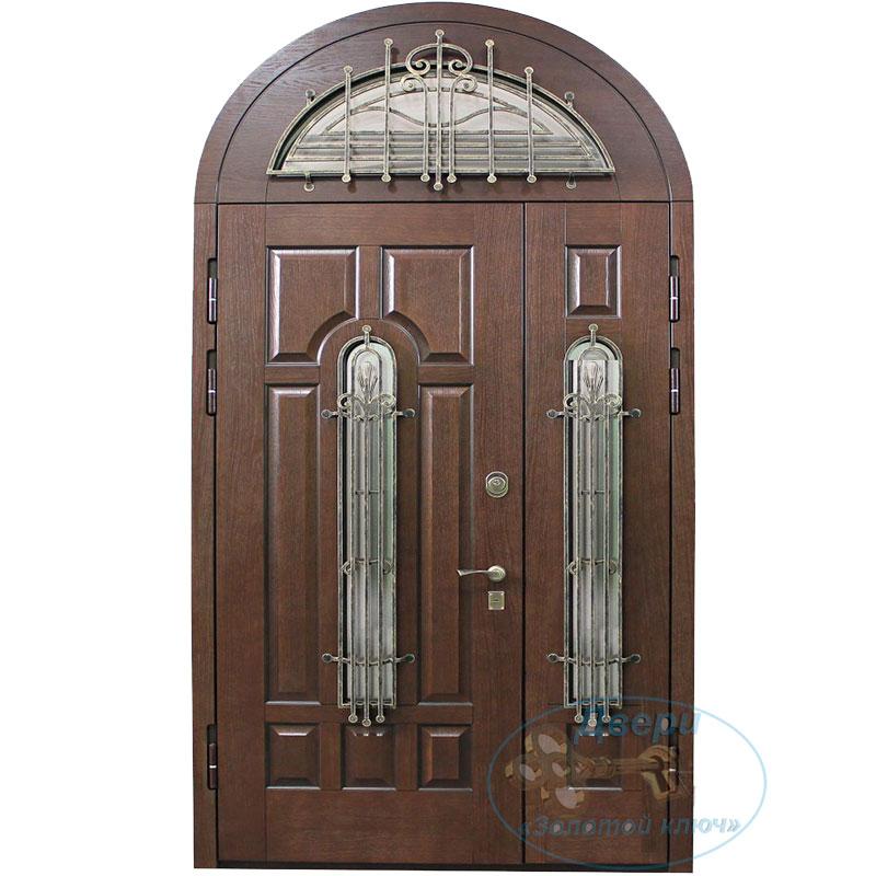 Входная дверь с арочной фрамугой со стеклопакетом и кованной решеткой