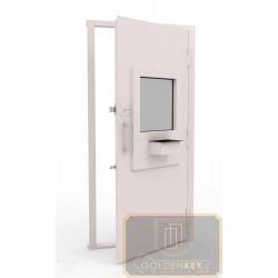 Дверь в кассу с порошковым напылением, стеклом ДК-ПС-Н 06