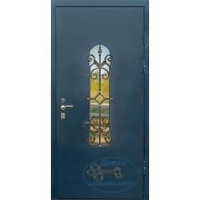 Двери для дачи ДД-ПСК-МШ 53 Порошковое напыление со стеклом и ковкой