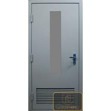 Дверь в котельную со стеклом и вентрешеткой МД-ВК-08