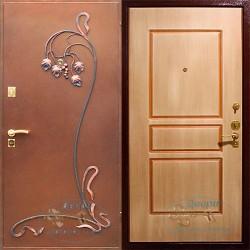 Металлическая дверь порошковым напылением и ковкой МДФ