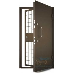 Дверь в кассу с порошковым напылением и решетчатой дверью ДК-НС-Н 03