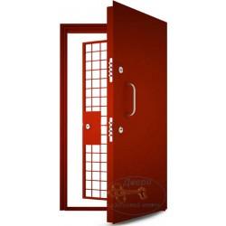 Дверь в кассу с перхлорвиниловой краской и решетчатой дверью ДК-НС-Н 04