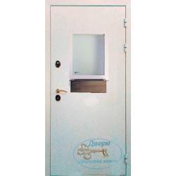 Дверь в кассу с порошковым напылением и стеклом ДК-ПС-П 07