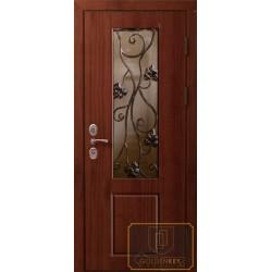 Входные металлические двери со стеклом и ковкой