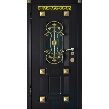 Дверь черная со стеклом