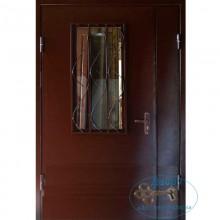 Тамбурная дверь ТД-ПС-ПС 20 Порошковое напыление со стеклом и решеткой с доставкой и установкой в Москве от производителя