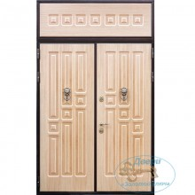Двустворчатые входные двери ДД-МПВ-МШП 26 МДФ постформинг с верхней вставкой