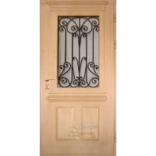Металлическая дверь со стеклопакетом и ковкой
