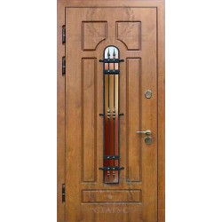 Наружные двери со стеклопакетом и ковкой НД-СС-03