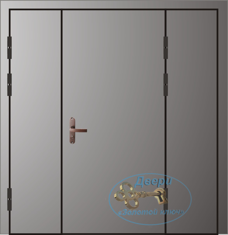 Двупольная дверь с боковой распашной и глухой вставкой