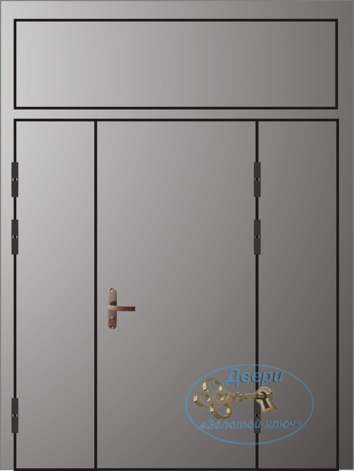 Двупольная дверь с левой распашной, правой глухой вставкой и верхней вставкой